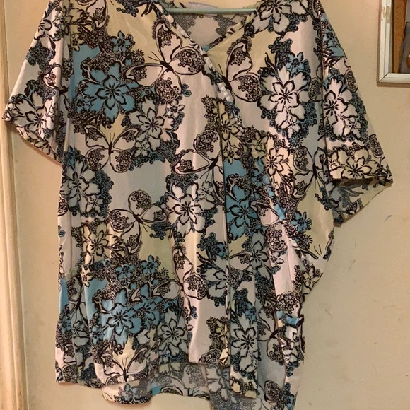 butterfly and floral scrub top